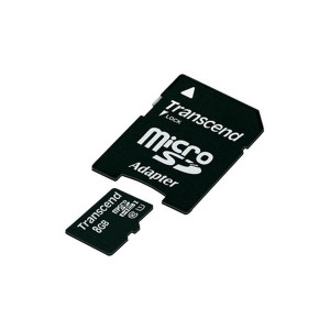TRANSCEND Micro SD 8GB + SD Adapter TS8GUSDU1